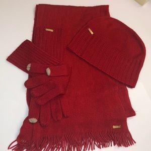 Calvin Klein red scarf, glove and hat set